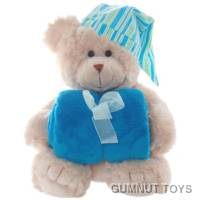 Frankie Bear with Blue Blanket and Hat