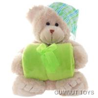 Frankie Bear with Green Blanket and Hat